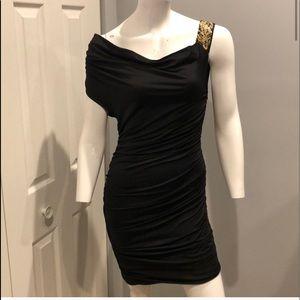 AKIRA black asymmetrical ruched dress